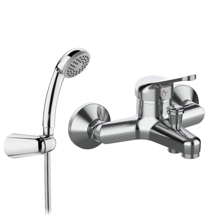 Смеситель Tiemme GAMMA G03 для ванны, с пластиковой лейкой и держателем, ручка хром (411510101)