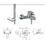 Смеситель Tiemme LIKE L03 для ванны, с пластиковой лейкой и держателем, ручка хром (411480102)
