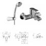 Смеситель Tiemme TEN TN03 для ванны, с пластиковой лейкой и держателем, ручка хром (411800101)