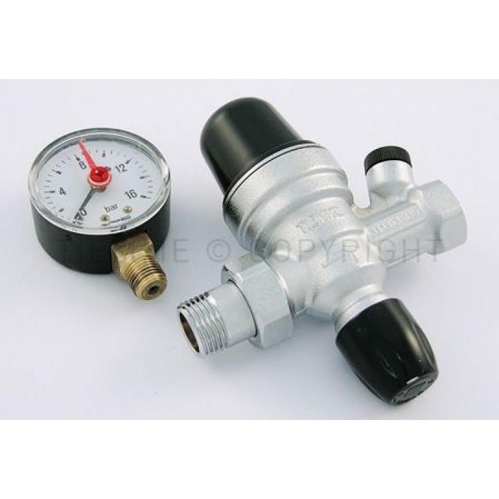 """Автоматический наполнительный клапан для систем отопления с закрытым контуром с диапазоном регулировки от 1 до 6 бар  Tiemme 1/2""""  резьба  внешняя / внутренняя   ( 3170001 )"""