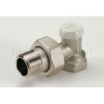 Угловой запорный вентиль с соединением для железных труб с прокладкой. Tiemme EXCEL  1/2 резьба внешняя / внутренняя ( 3230008 )