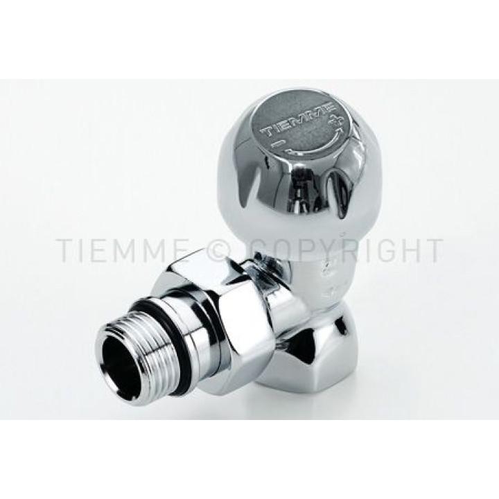 Угловой запорный вентиль с соединением для железных труб. Глянцевый хромированный.. Tiemme  1/2 резьба внешняя / внутренняя ( 3330001)